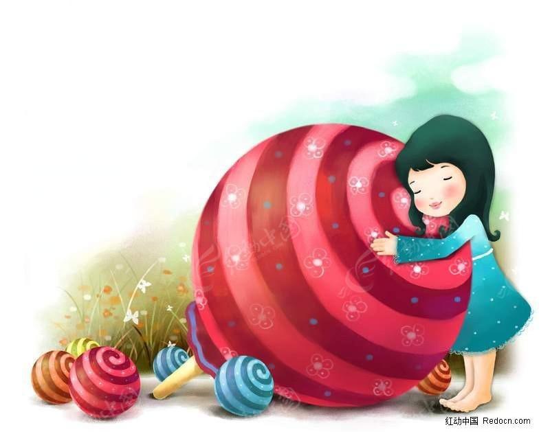 小女孩抱着棒棒糖卡通画