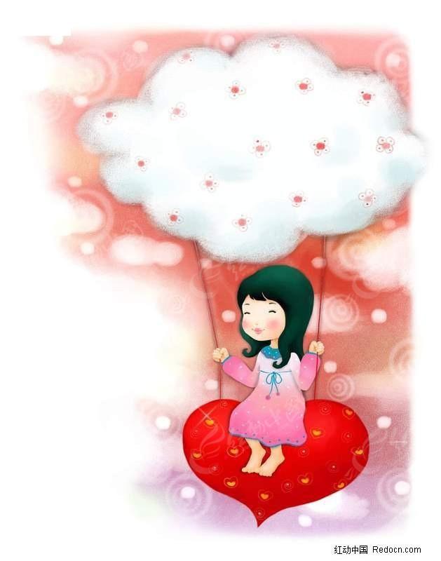 卡通小女孩 小女孩  psd psd插画 psd插画设计 红桃 爱心 云朵 荡秋千