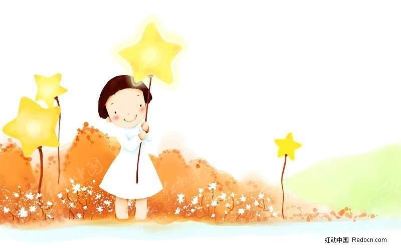 儿童 幼儿 卡通女孩 可爱卡通 卡通场景 卡通布景 风光 插画 韩国插画