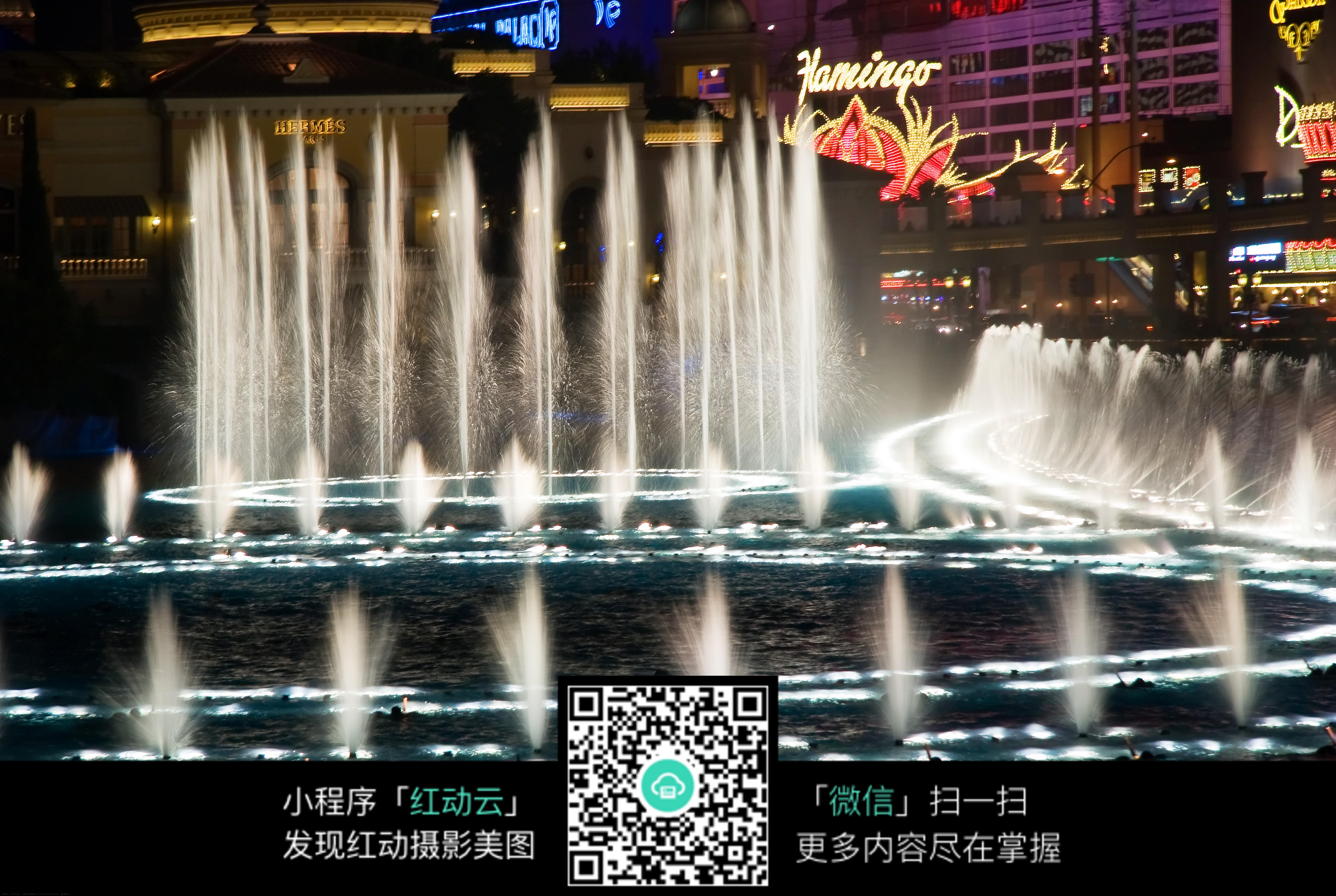 喷泉水系景观夜景图片