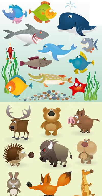 卡通海洋鱼类陆地动物矢量素材