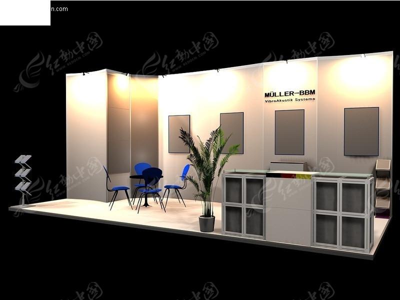 银色贵气展厅设计模型; 单面式展览展台展柜展示空间_展示模型; 单面图片