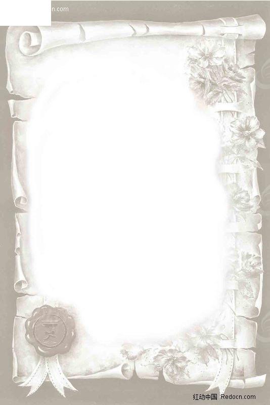 印章 信纸 鲜花 复古 缎带 相框 欧式 灰色 淡雅 欧式相框  边框 psd图片