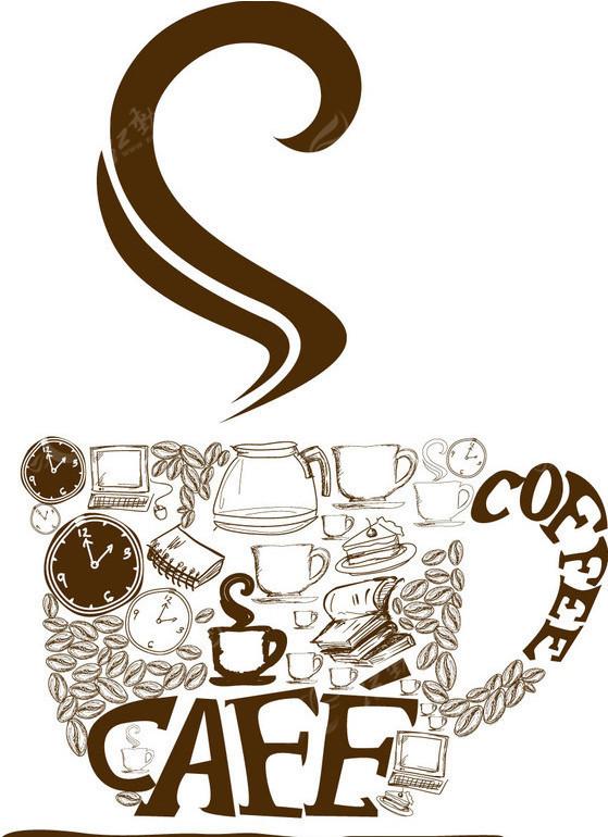 咖啡杯  手绘 花边 边框 coffee caffe 放射背景 生活百科 矢量素材