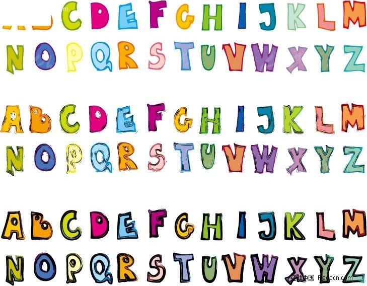 > 英文字母卡通字体