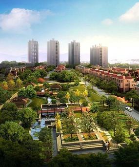 建筑广场规划景观俯视图图片