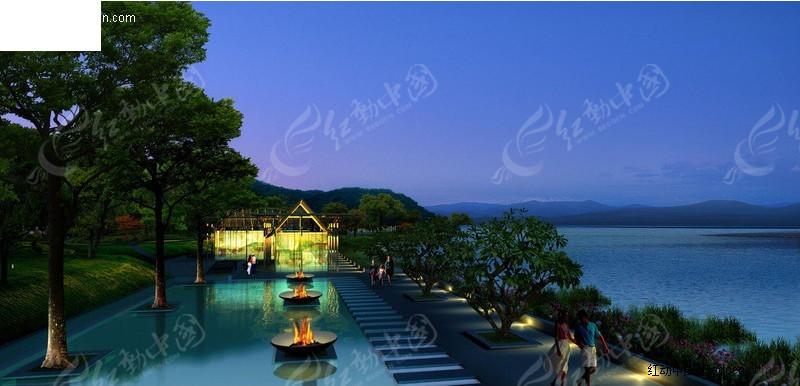 雪景园林景观设计效果图 度假酒店园林景观设计效 古代园林景观设计