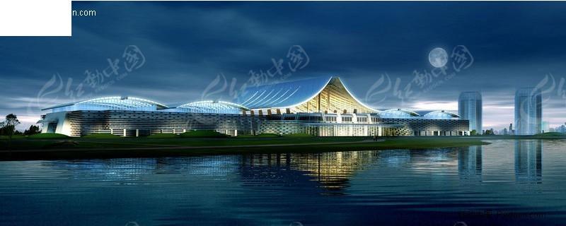 沿湖分层夜景景观设计psd建筑展室_园林景观纪念馆素材内v夜景图片