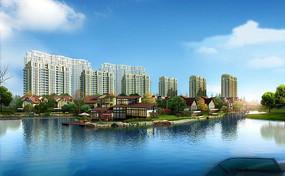 湖边别墅群园林景观设计PSD分层素材