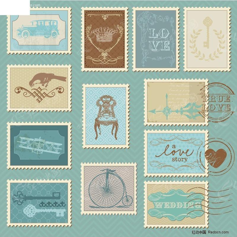 卡通插画邮票