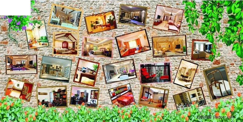 装饰公司室内效果图案例展示墙设计模板矢量图 展板设计高清图片