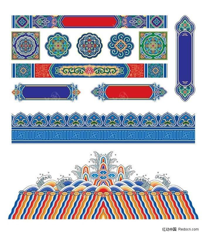 古代中式建筑横梁彩绘