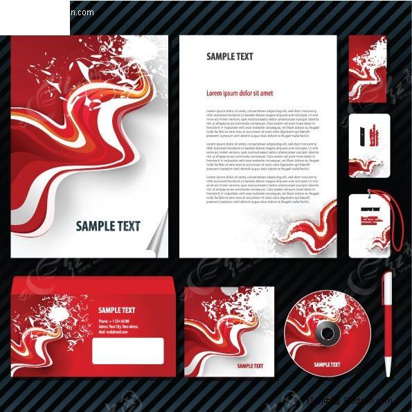 红色动感企业vi手册系列设计模板矢量图