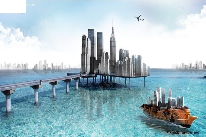 承载梦想创意海上城市图片素材