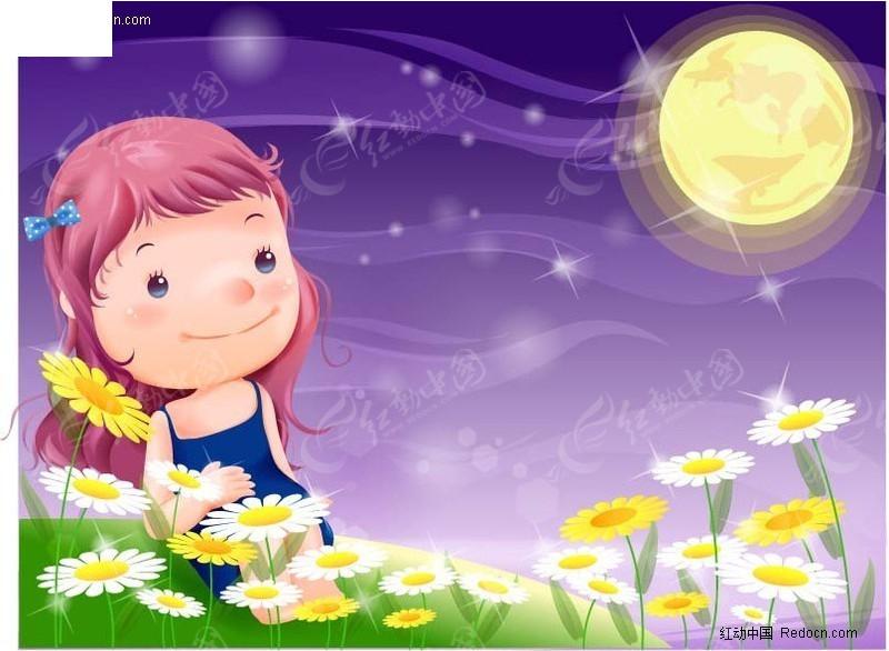 望着月亮的小女孩