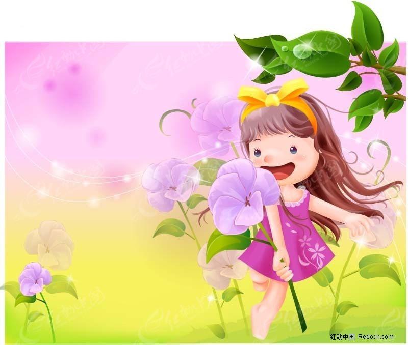 可爱的小女孩卡通人物 卖火柴的小女孩卡通插画 提荷花的小女孩花灯