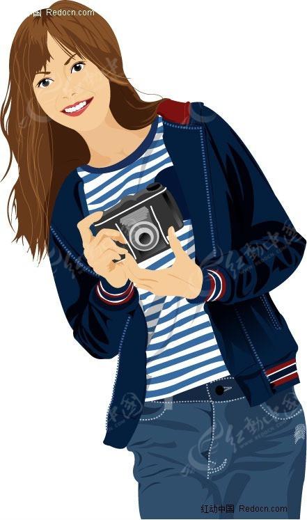 时尚矢量人物—拍照女孩