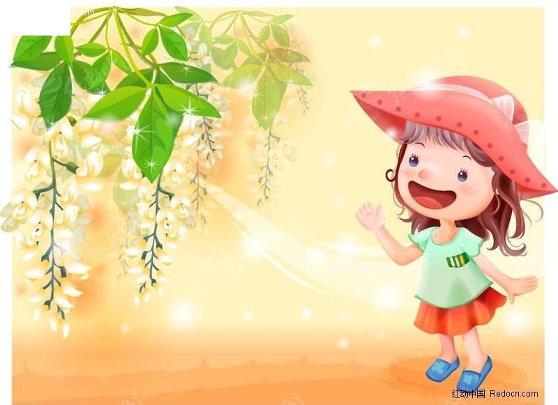 趴在树干上的可爱小女孩 可爱小女孩 冰淇淋插画 美丽可爱小女孩古装
