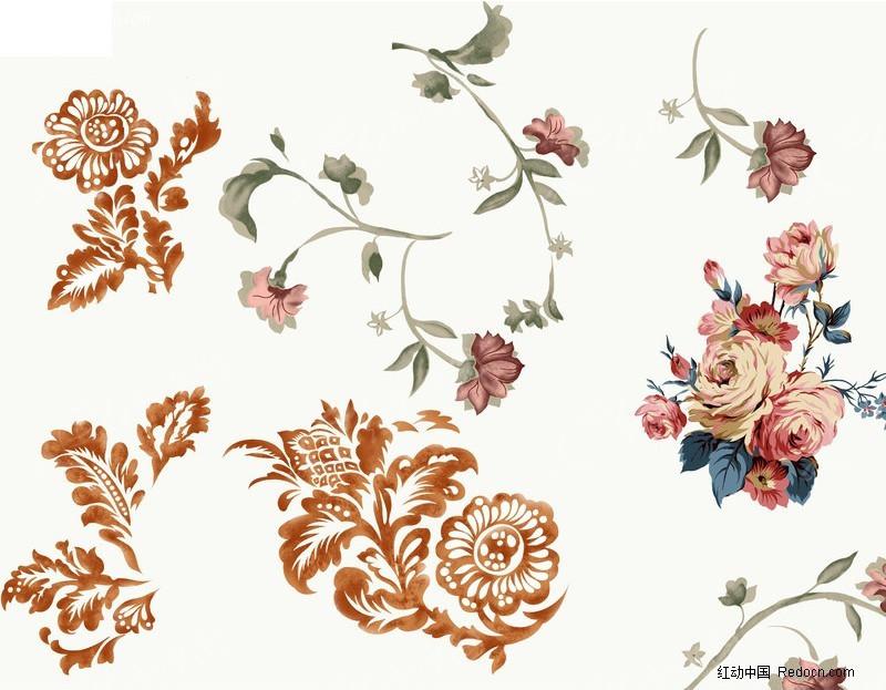 手绘素材 花朵 牡丹
