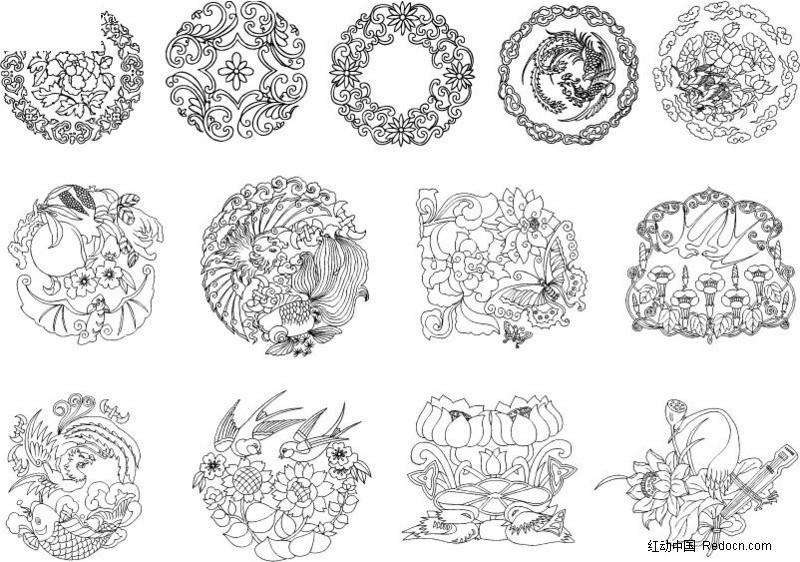 中国古典花纹矢量图ai免费下载_吉祥图文素材