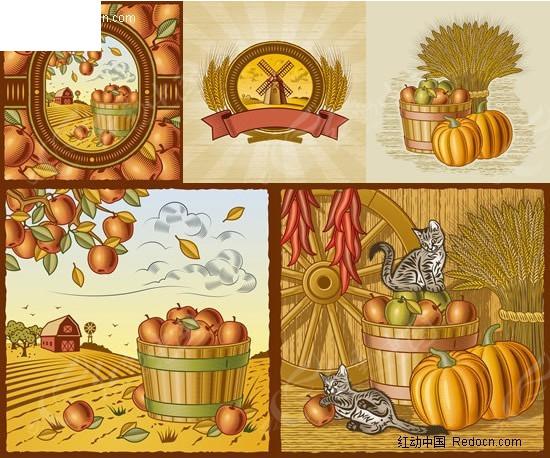 卡通秋天丰收农场矢量素材