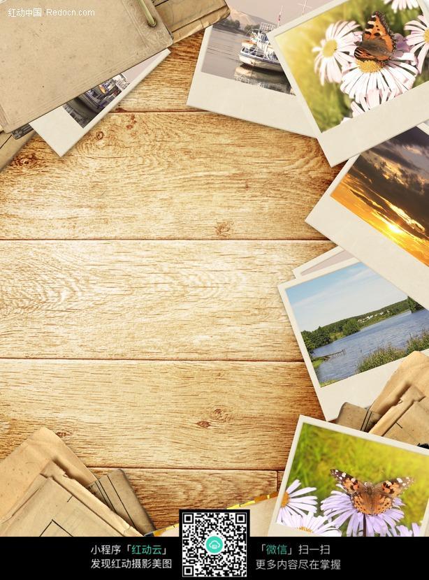 木板上的照片背景图片