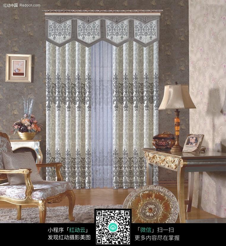 欧式风格室内窗帘设计罗马杆窗帘