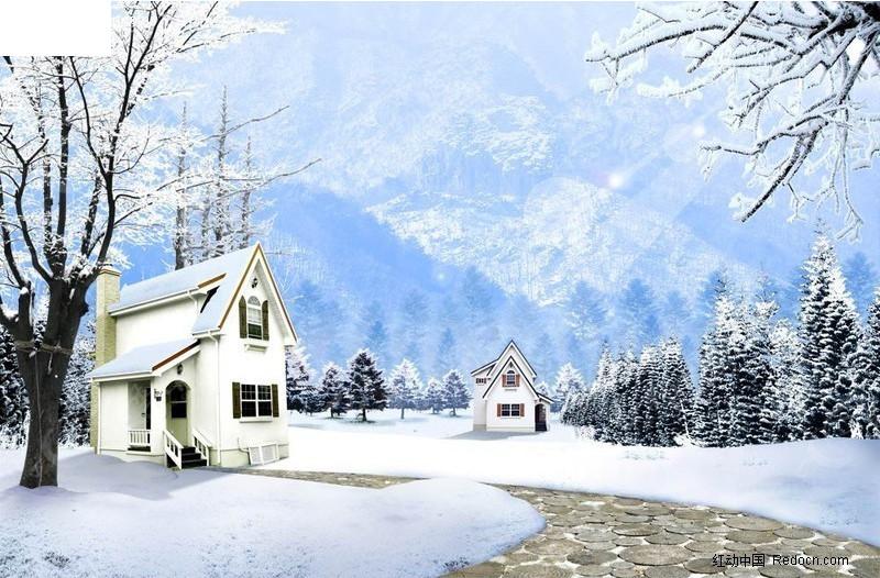 白雪皑皑冬季郊外雪景
