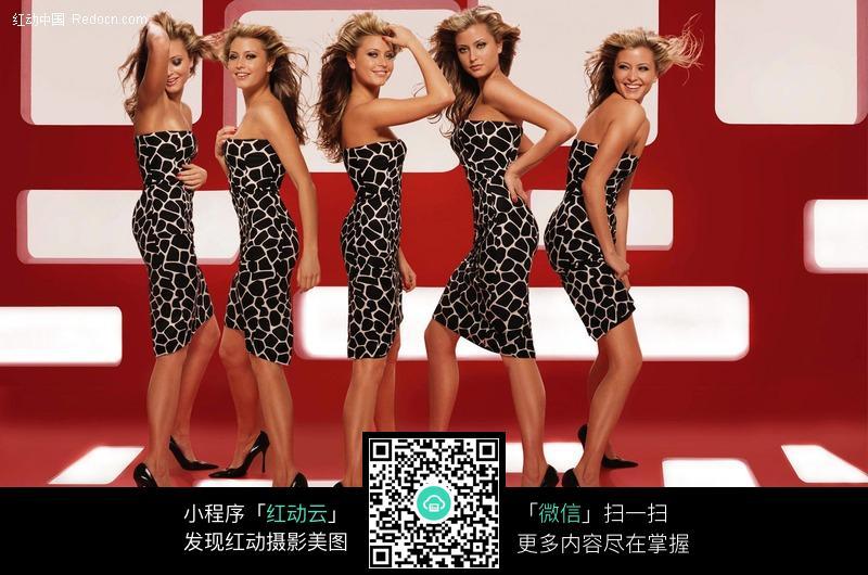 五个穿豹纹紧身衣的外国美女图片