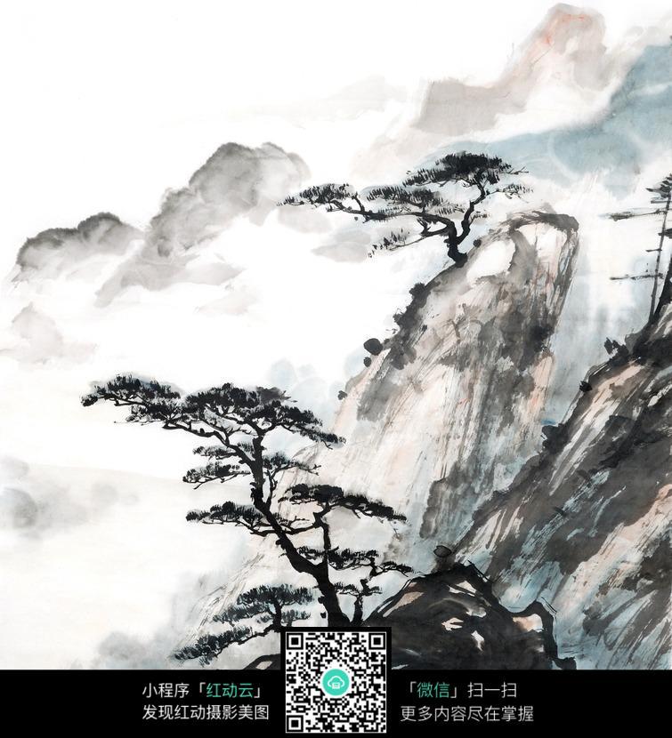 水墨画山峰上的树木