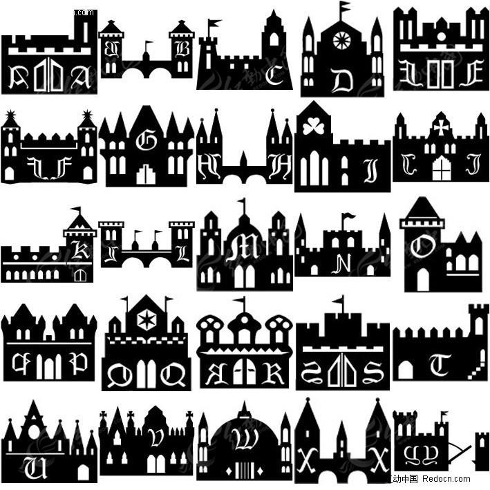 单色欧式建筑物剪影