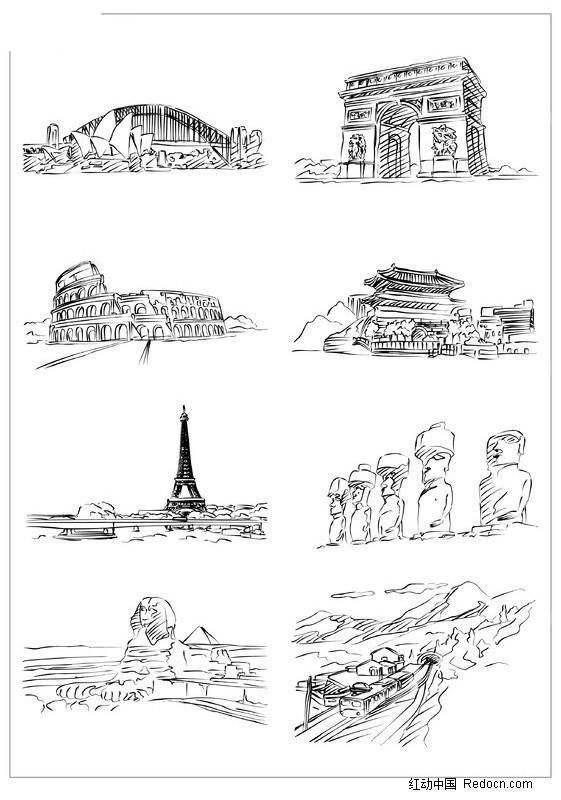 建筑手绘图黑白简易