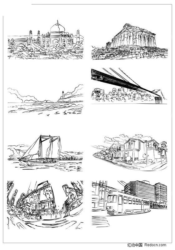 欧洲手绘建筑矢量