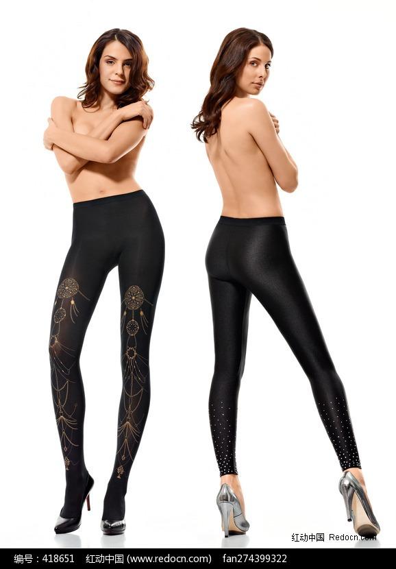 两个穿黑色连裤袜的半裸美女图片