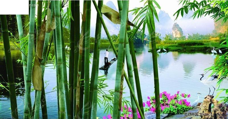 山水竹子风景画