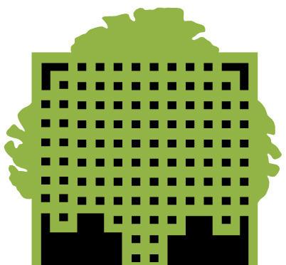 方格树木图案英文字母logo设计