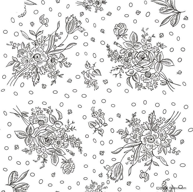 花矢量 手绘花 花藤 花边 边框 绚彩花纹背景 底纹 边角花纹 单色花朵