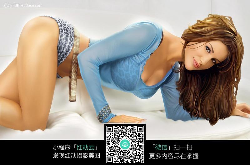 跪在床上的性感美女