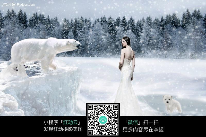 和北极熊对视的美女图片编号:435981 人物卡