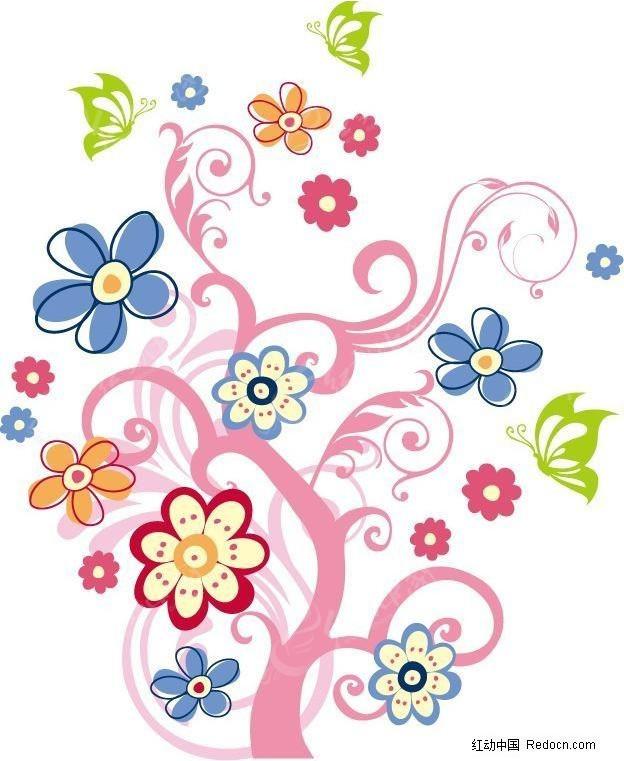 童趣开满花的树eps素材免费下载 编号439569 红动网