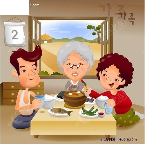 韩国温馨家庭插画之吃饭
