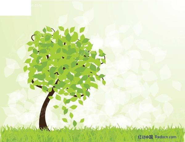 春天的树矢量素材矢量图eps免费下载