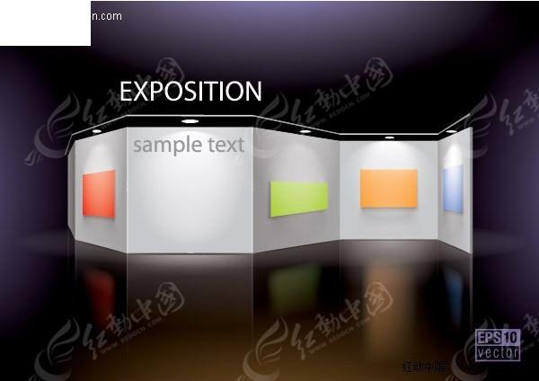 展厅展板设计效果图矢量素材图片高清图片