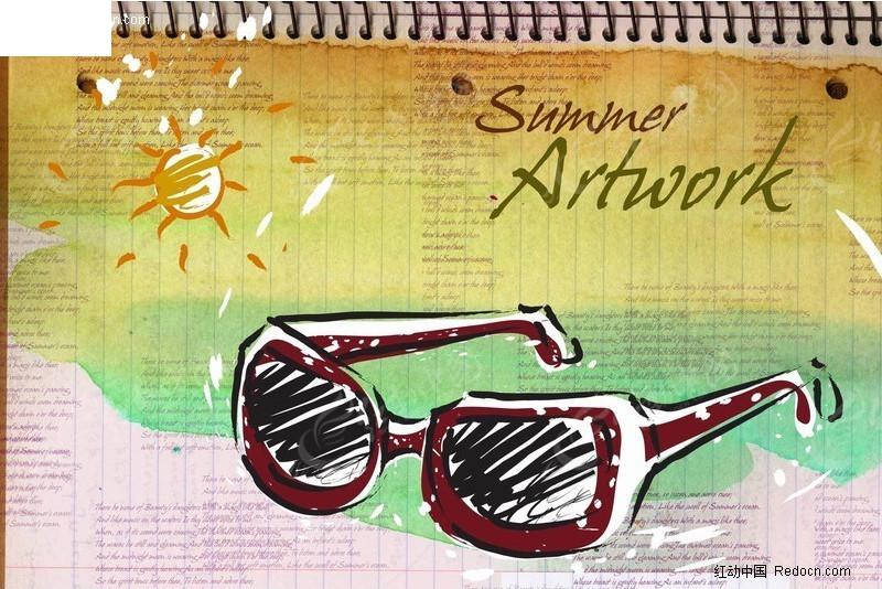 海豚 椰树 葡萄 手绘; 记本眼镜手绘海报设计模板