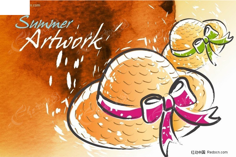 夏日帽子插画