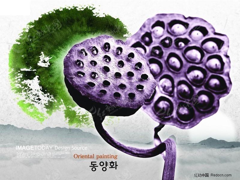 韩国设计中国元素荷花绿色