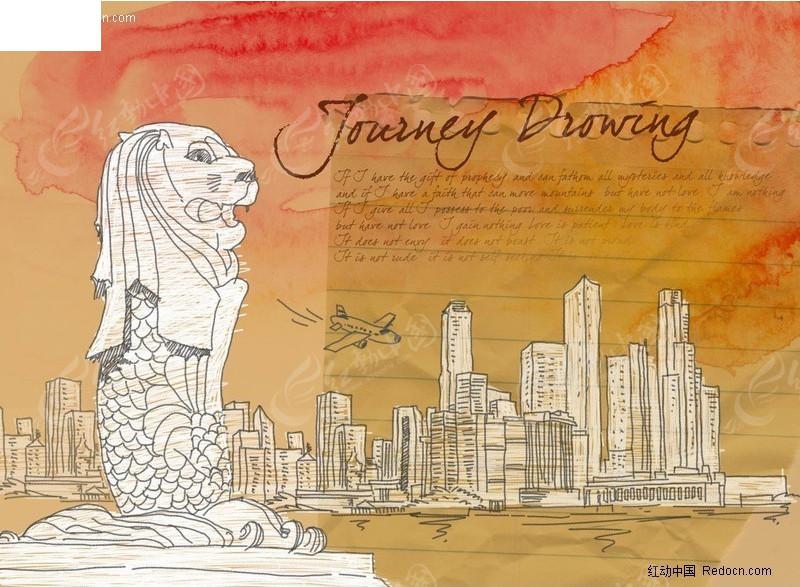 海报设计 广告设计模版 psd 共享 创意前线 东方元素 线条 狮子头