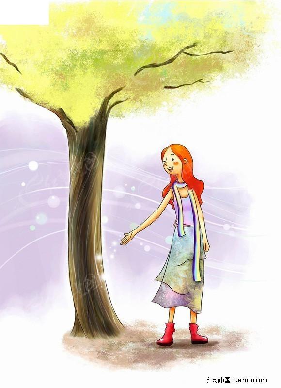 在树下的女孩插画图片