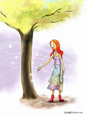 秋天灯火下的女孩子剪影 少儿阅读宣传海报设计 大树下女孩的背影