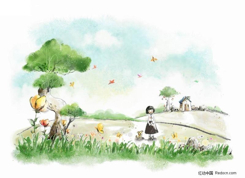 梦幻 韩国 时尚 花纹 浪漫 卡通 韩国风格 手绘 彩绘 插画 摄影素材